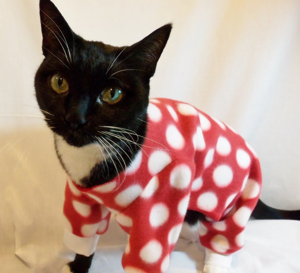 Cat Pajamas Large Polkadot Fleece Cat Pajamas   Several Colors Available