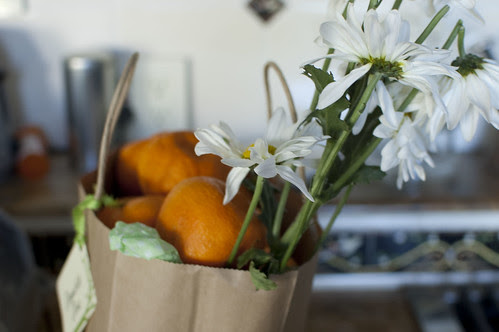 tangerines, daisies