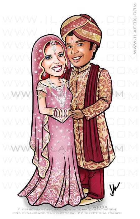 Caricatura casamento indiano, noiva de vestido indiano, noivo indiano, by ila fox