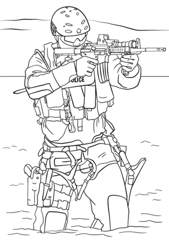 swat police coloring page