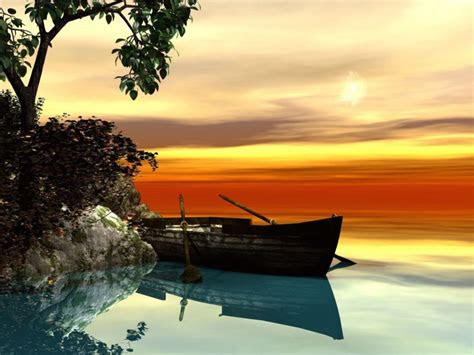 serene rowboat setting wallpaper   hd