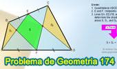 Problema de Geometría 174 (ESL): Cuadrilátero, Puntos medios de 2 lados, Triángulos, Suma de Áreas.