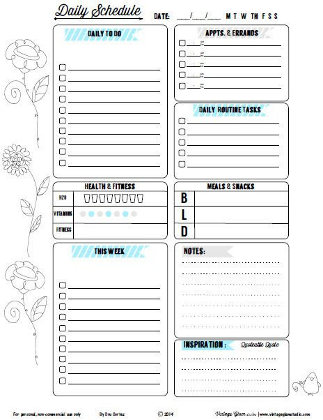 Free Printable Doodled Floral II Daily To do List from Vintage ...