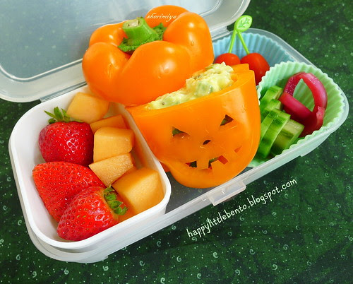 Jack-o-Pepper Egg Salad Halloween Bento by sherimiya ♥