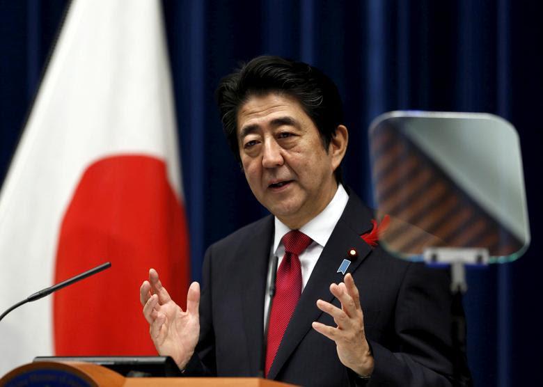 写真家 - 安倍晋三首相は、2015年10月6日、東京の公邸での記者会見で語った。ロイター/篠野雄雄/ファイル写真