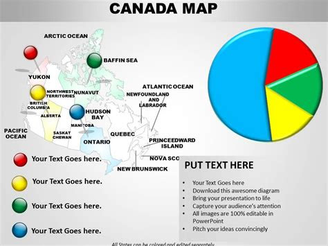 canada map  pie chart   powerpoint templates   templates