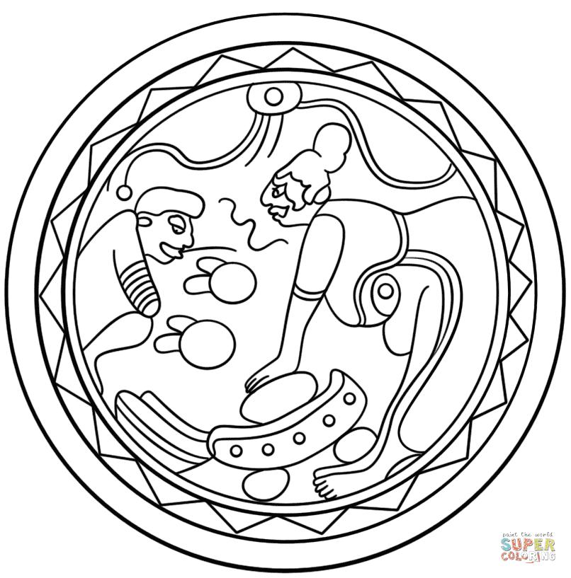 Dibujo De Plato Mata Con Metate Y Cacao Para Colorear Dibujos Para