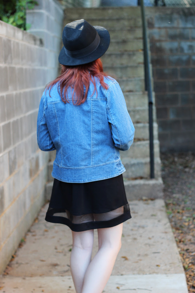 Denim Jacket, Black Skater Skirt with Mesh Detail
