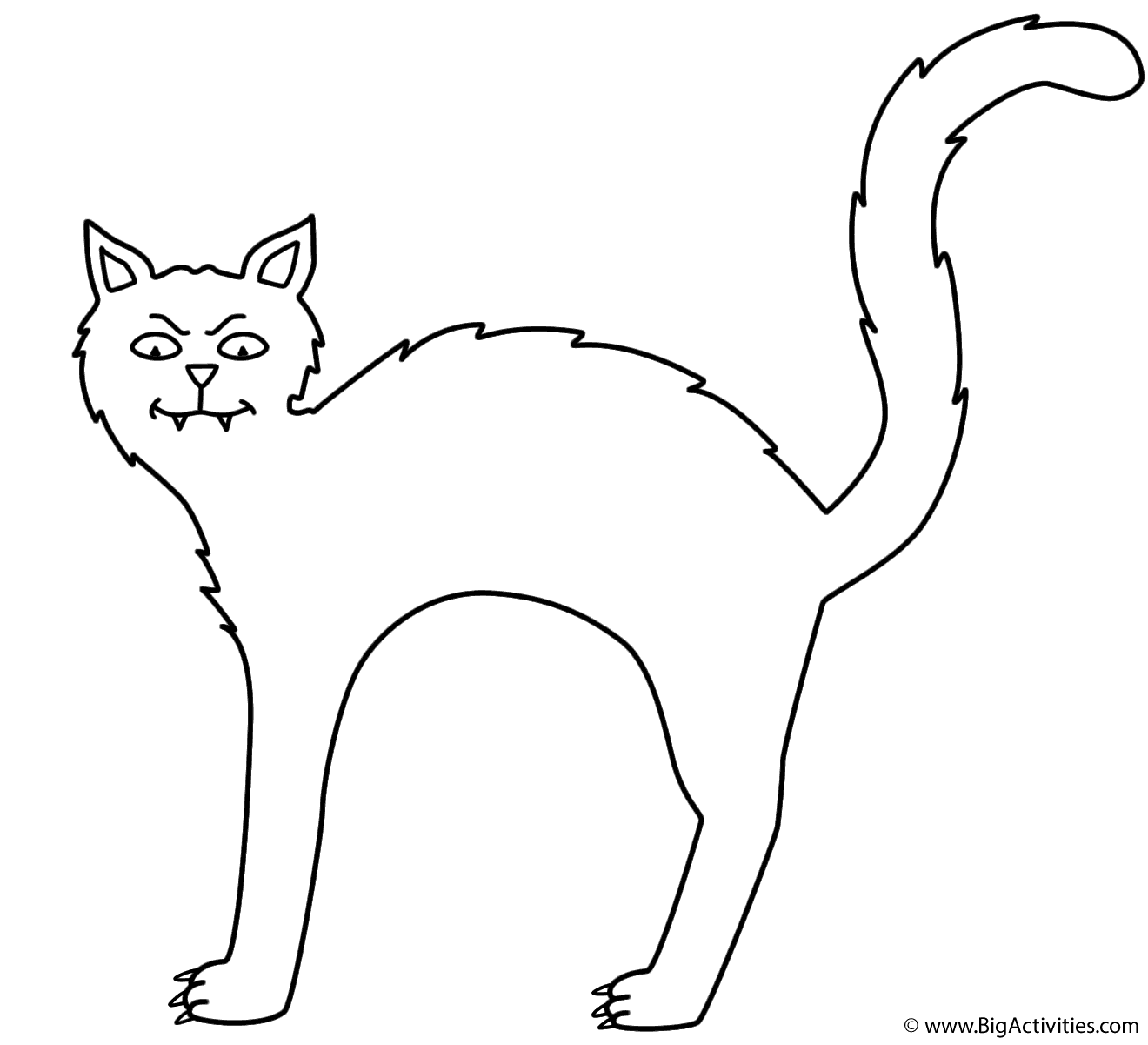 Black cat - Coloring Page (Halloween)