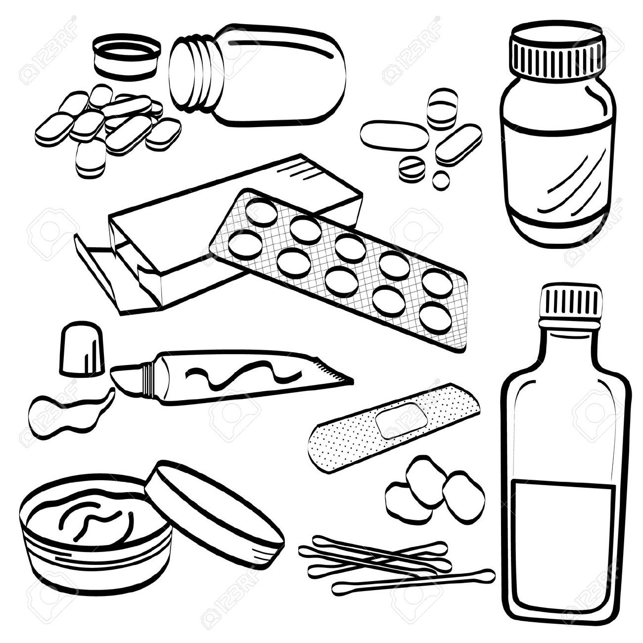 medical kit and first aid coloring page | Medical kit, Coloring ... | 1300x1300