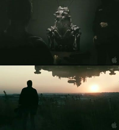 An alien is interviewed by government agents, and the alien spacecraft lurks above the horizon in DISTRICT 9.