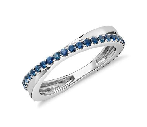 Sapphire Infinity Eternity Ring in 14k White Gold (1.5mm