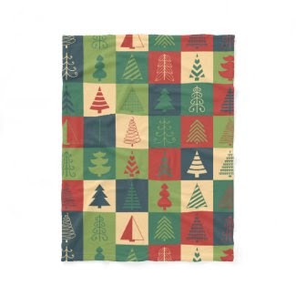 Retro Christmas trees pattern Fleece Blanket