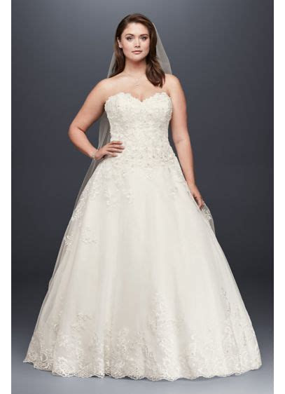Beaded Lace and Tulle Plus Size Wedding Dress   David's Bridal