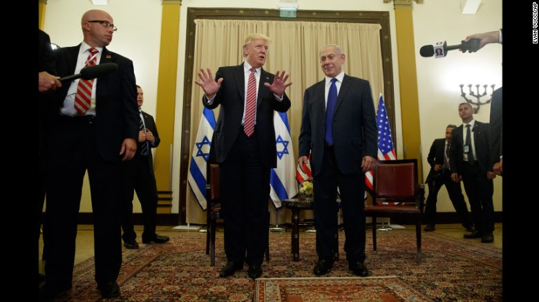 """US President Donald Trump talks to reporters as he meets with Israeli Prime Minister Benjamin Netanyahu on Monday, May 22. <a href=""""http://www.cnn.com/2017/05/22/politics/trump-israel-russia-intelligence/"""" target=""""_blank"""">Trump sought to rebut claims</a> that he damaged Israeli intelligence capabilities by revealing highly classified information to Russian operatives earlier this month. """"Just so you understand, I never mentioned the word or the name Israel,"""" Trump told reporters as he began the second leg of his first foreign tour."""