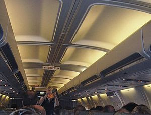 In-flight safety demonstration on board a Luft...