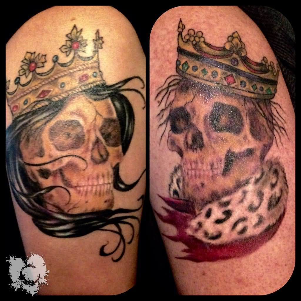 Grey Ink King And Queen Skull Crown Tattoo Design