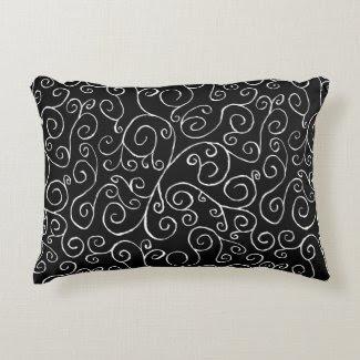White Scrolling Curves on Black Accent Pillow