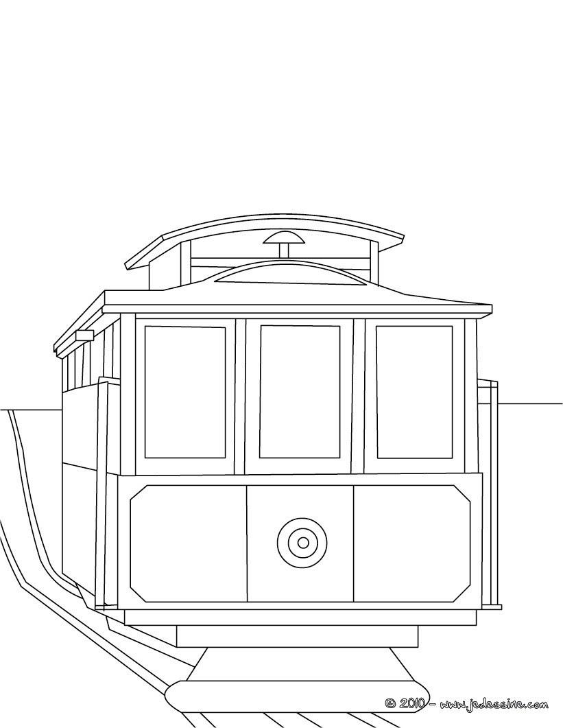 Coloriage arri¨re de tramway  imprimer
