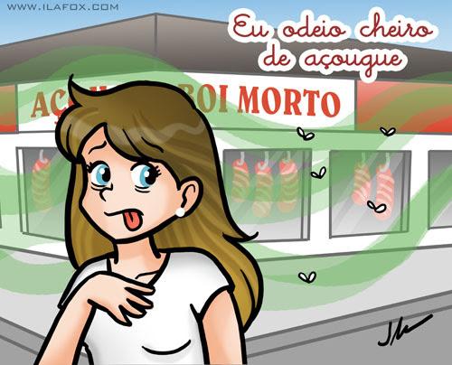 Eu odeio cheiro de açougue, ilustração by ila fox