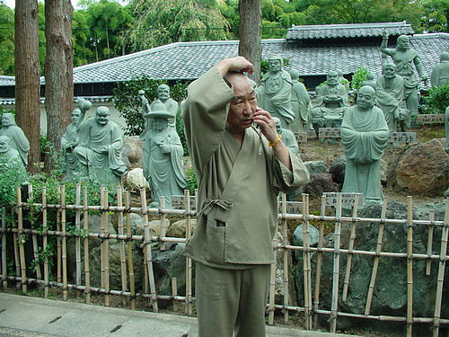 Kyoto Monk on his Phone