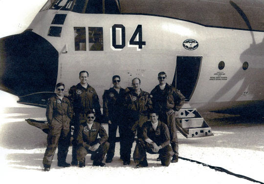 An Lockheed LC-130F Hercules ski-equipped Hercules of VXE-6 at the   Amundsen–Scott South Pole Station. Image courtesy Brian.