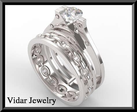 Unique Sapphire Handcuff Wedding Ring Set In White Gold
