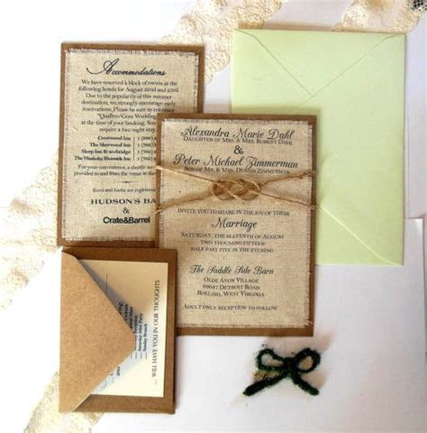 Wedding invitation kits, Invitation kits and Burlap fabric