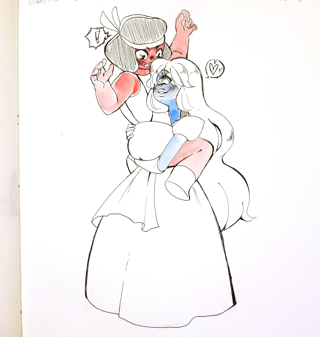 The pen I used really didn't like watercolor, oops. Also a day behind Inktober. I have day 3 sketched out I just… really wanna sleep though. I wanted Ruby to be flustered and carried, so I did that....