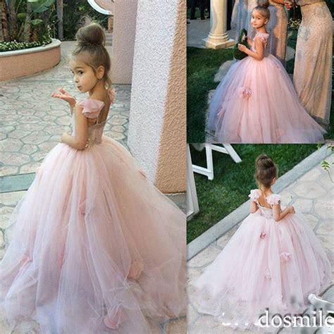 2016 Pink Blush flower girl dress Spaghetti straps junior