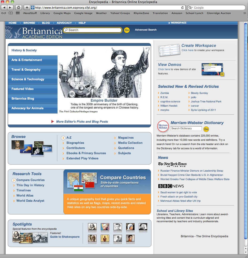 Encyclopedia Britannica software