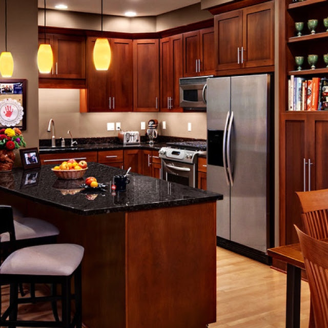 Wood Kitchen Cabinets Cherry Wood Kitchen Cabinets Black Granite