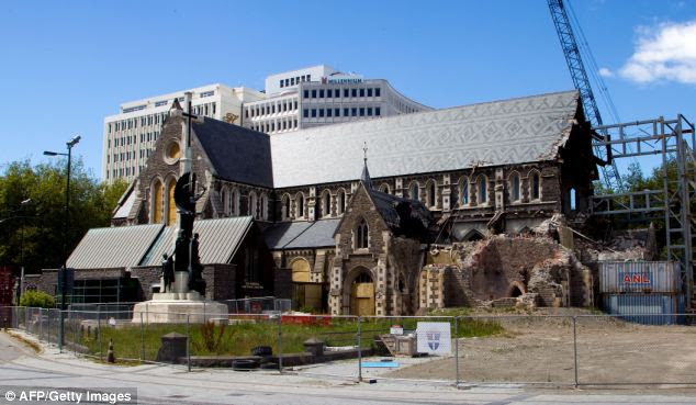 This photo taken on December 5, 2012 shows the fenced-off old Christchurch Cathedral missing its tower