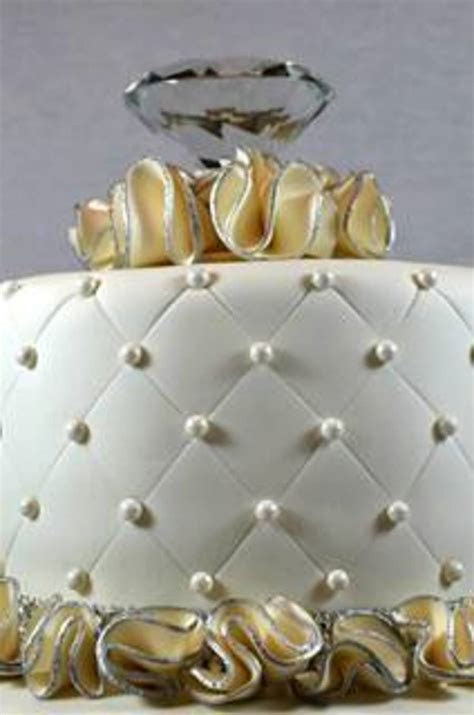 Bridal Shower Cake Pearls And Diamonds   CakeCentral.com