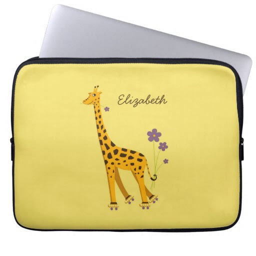 Yellow Skating Funny Cartoon Giraffe Personalized Computer Sleeves