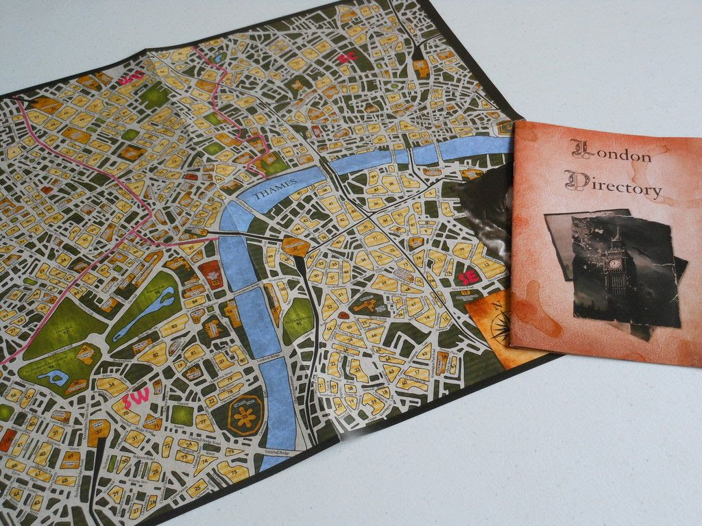 The colour map and London directory, necessary for foiling the nefarious schemes of villains found in the Sherlock Holmes: Consulting Detective board game.