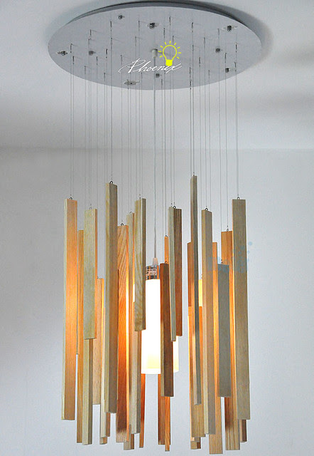 Modern Hanging Original Wood Pendant lighting - contemporary ...