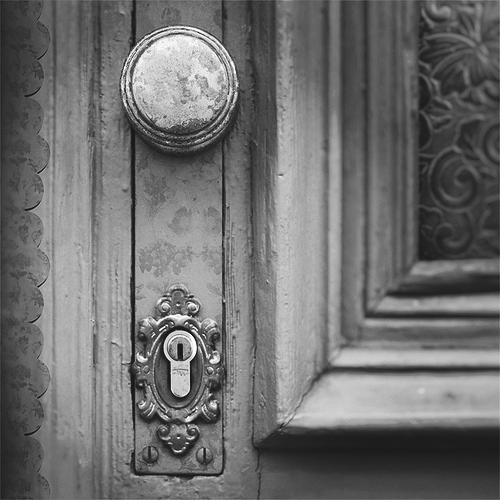 Open the door. Step inside. The darkness is beckoning you. Calling you to walk in. Welcome! Glad you're here! Follow the flickering candles. They will lead you to untold pleasures. Do you hear the music? A party is waiting for you in the drawing room. Don't be afraid. Peek in. Do you see the dancers? Twirling around and around. You can see through them? Can't you? That's because they're transparent. An echo from the past. Those who lived here before. And now they inhabit the air. Their spirits live in these dark rooms. Now you can join them and live here forever! A story that can be told just by looking at the closed door and opening the door in your mind.