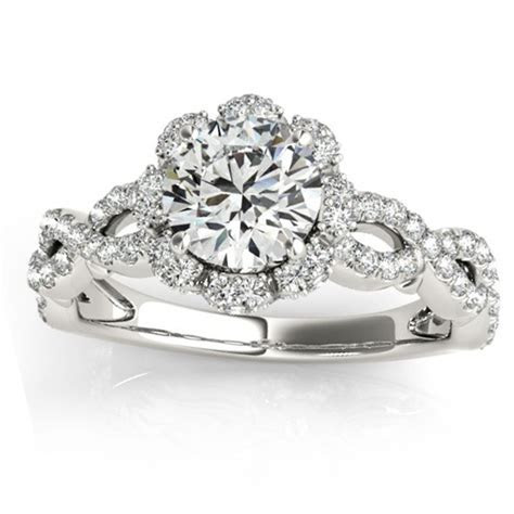 Halo Diamond Engagement & Wedding Rings Bridal Set 14k W