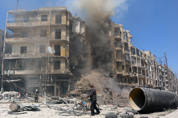 Ruins in Aleppo after being bombarded by Russia