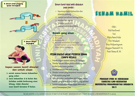 leaflet senam hamil words creativity design
