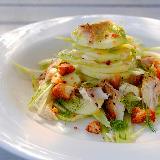 Salad of Shaved Baby Fennel, Apple and Smoked Mackerel