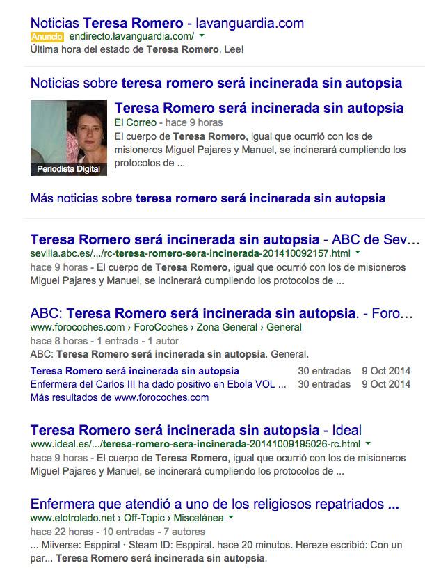 Búsqueda en Google del 10 de octubre de 2014 a las 7:30 de la mañana