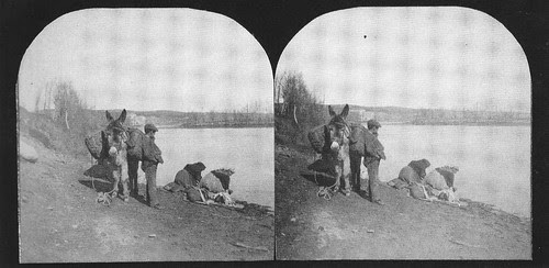Fotografía estereoscópica de la ribera del Tajo  en Toledo hacia 1934. Donación del Marqués de la Vega Inclán a la Hispanic Society of America