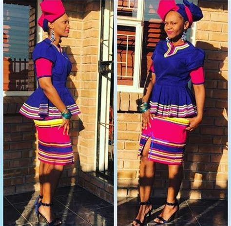 Beautiful Sepedi Traditional Peplum Top With Skirt and