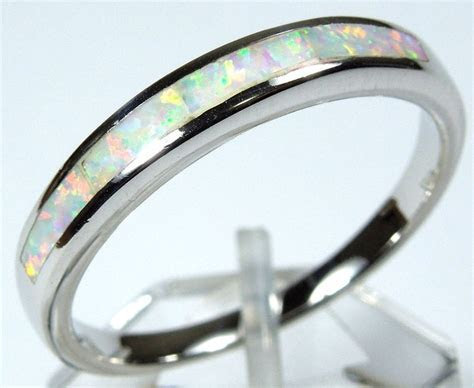 Quality White Fire Opal Inlay Solid 925 Sterling Silver