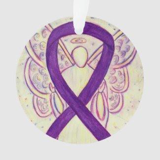 Purple Awareness Ribbon Angel Customized Ornaments