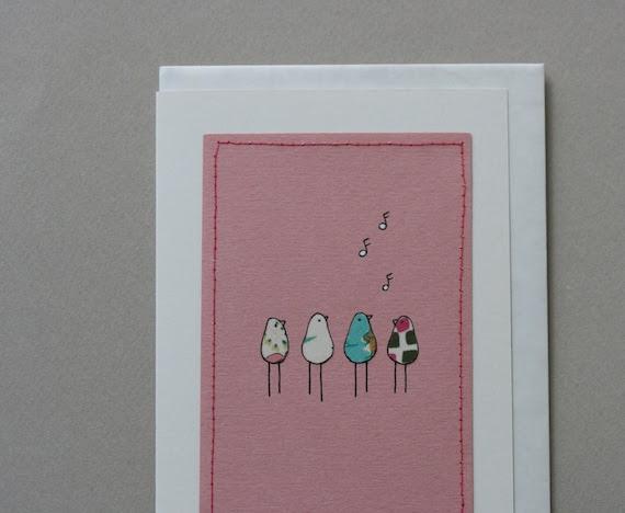 Singing Birds Gift Card - Pink