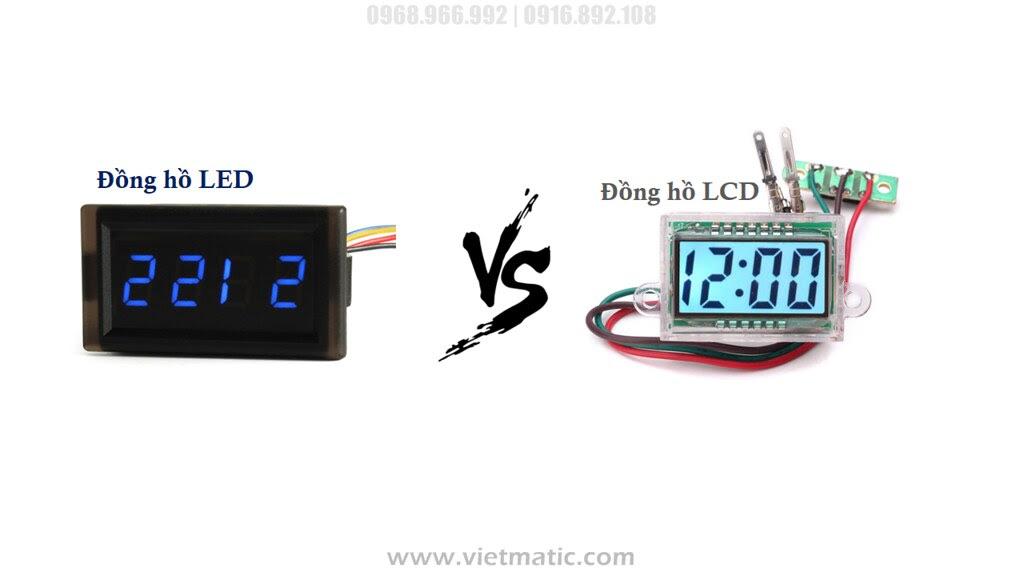 Đồng hồ xem giờ gắn xe máy, ô tô loại LED (Trái)  và LCD (phải)