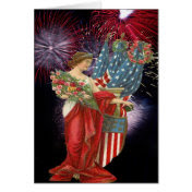 Vintage Lady and Fireworks Card